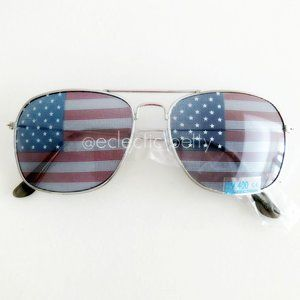 """Stateside"" USA Flag Flat Top Aviator Sunglasses"